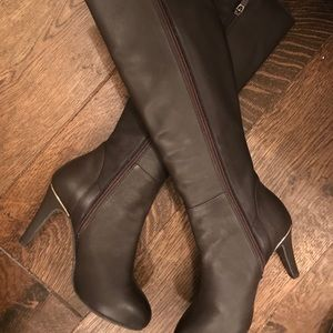 Chocolate brown span leather long boots
